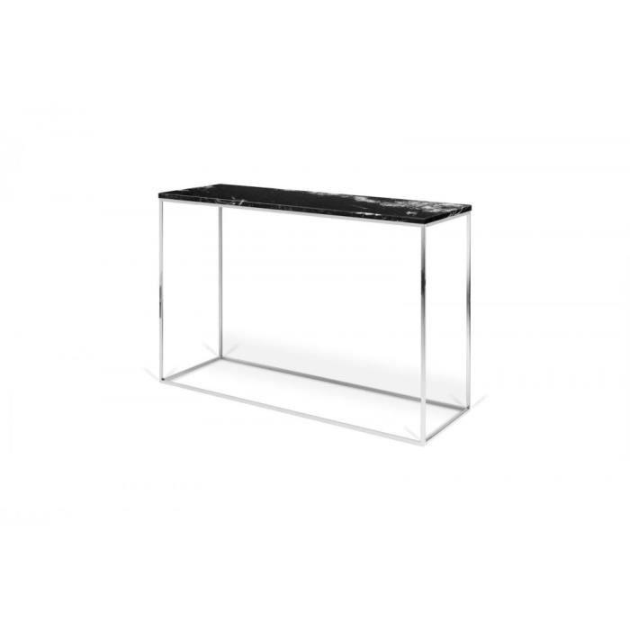 Console design GLEAM en marbre noir et pieds chromés noir Metal Inside75