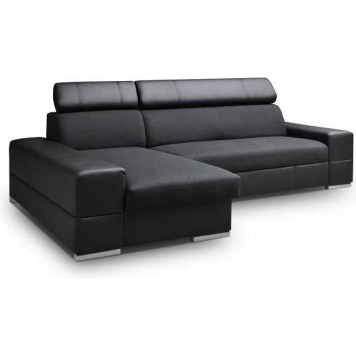 Canapé convertible CAPRI tissu noir simili cuir noir