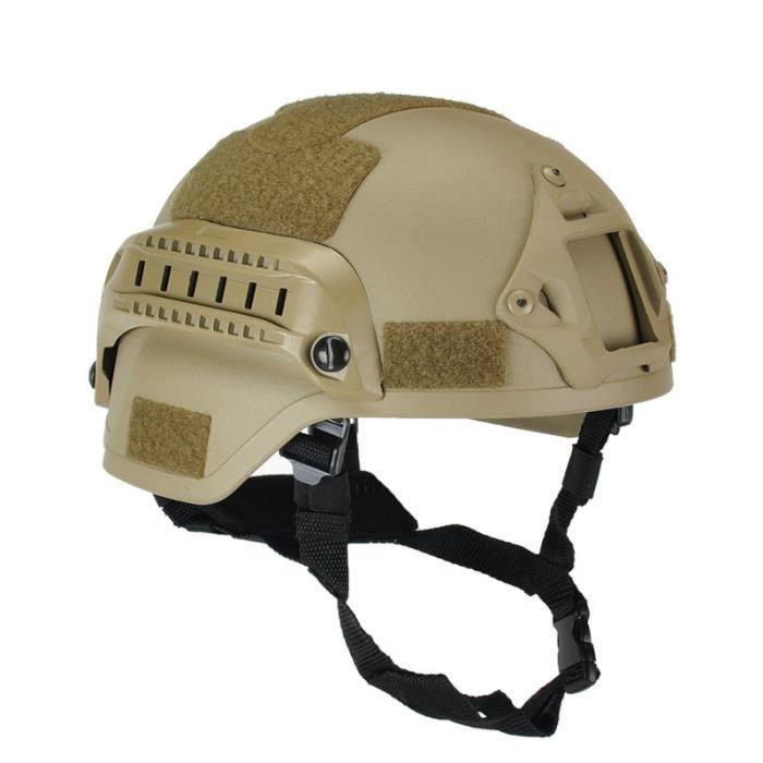 Casque de Protection de Tête MICH 2000 Militaire Airsoft Casque Tactique Armée Combat Casque d'automobile - Jaune