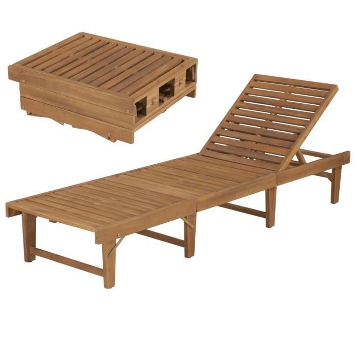 Chaise Longue de Jardin,Chaise Longue pliante, Transat pliable Bois d'acacia solide