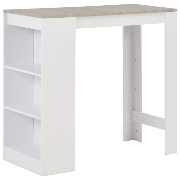 Table de bar Table haute avec étagère Blanc 110x50x103 cm