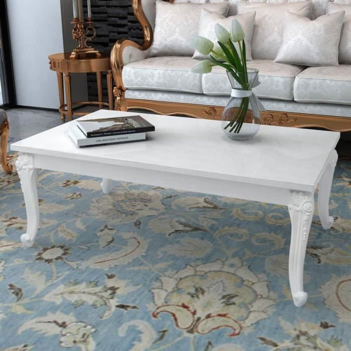 Table basse Table Console 120 x 70 x 42 cm Laquée Blanche