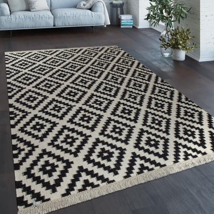 Tapis Tissé Main Tendance Moderne Design Marocain Franges Noir Blanc [140x200 cm]