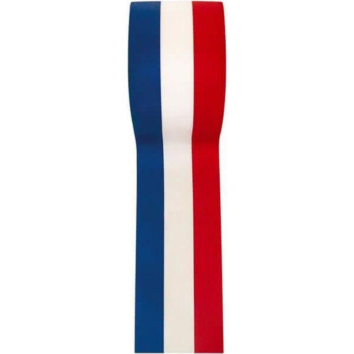Bobine de ruban français bleu, blanc et rouge en 50mm x 25m (x1) R/2800