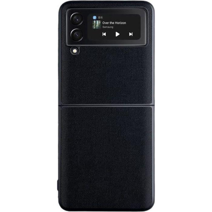 Coque Samsung Galaxy Z Flip 3 5G, Housse de protection en cuir PU anti-empreintes digitales pour téléphone portable Noir