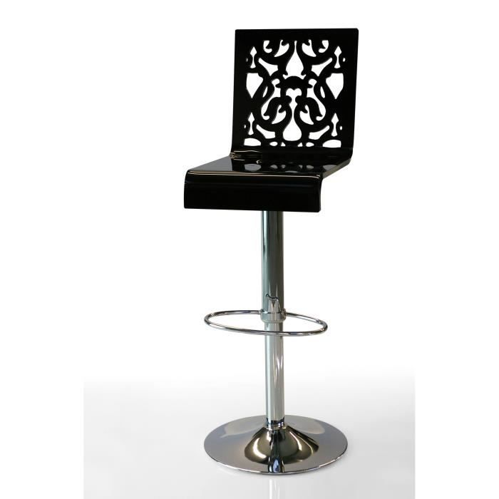 acrila tabouret de bar grand soir pied m tal noir achat vente tabouret de bar noir. Black Bedroom Furniture Sets. Home Design Ideas