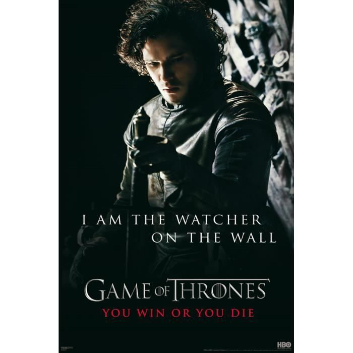 game of thrones poster i am the watcher achat vente affiche cdiscount. Black Bedroom Furniture Sets. Home Design Ideas