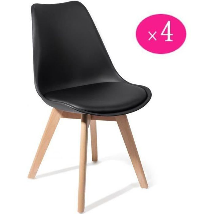 lot de 4 chaise scandinave de salle manger noir achat vente chaise noir soldes cdiscount. Black Bedroom Furniture Sets. Home Design Ideas