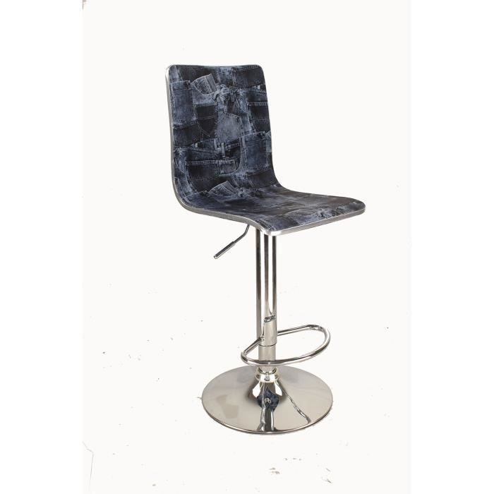 tabouret bar pivotant avec dossier en tissu design drapa jeans achat vente tabouret cdiscount. Black Bedroom Furniture Sets. Home Design Ideas