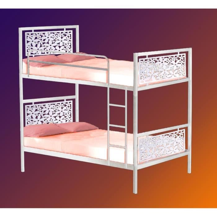 lit superpos en fer forg mod le fleurs achat. Black Bedroom Furniture Sets. Home Design Ideas
