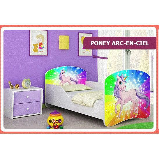 lit poney arc en ciel 140 x 70 matelas inclus rouge achat vente lit b b 2009968426103. Black Bedroom Furniture Sets. Home Design Ideas