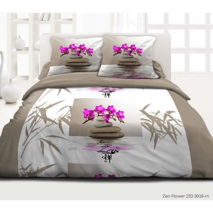 parure drap plat drap housse 2 to zen flower achat. Black Bedroom Furniture Sets. Home Design Ideas