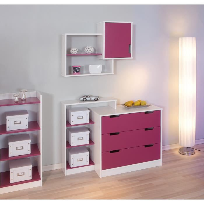 etag re blanche et rose fushia franziska achat vente meuble tag re etag re blanche et. Black Bedroom Furniture Sets. Home Design Ideas