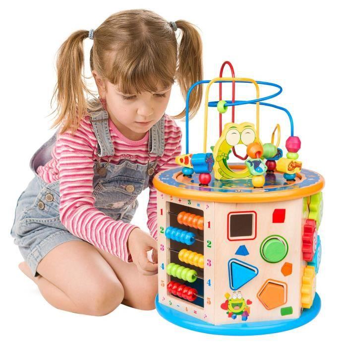 TOP BRIGHT Jouet de Cube D/'activit/é Jouet du B/éb/é Educatif avec Le Labyrinthe de Perle pour Cadeau des Gar/çon et des Filles Ag/é de 1 ou 2 Ans