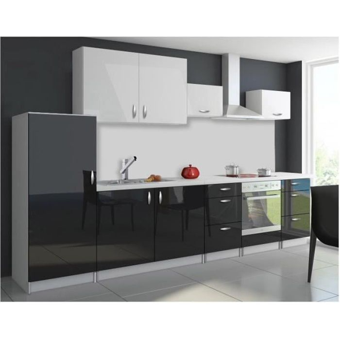 cuisine compl te 320 cm oxin laqu e brillant noir et blanc. Black Bedroom Furniture Sets. Home Design Ideas