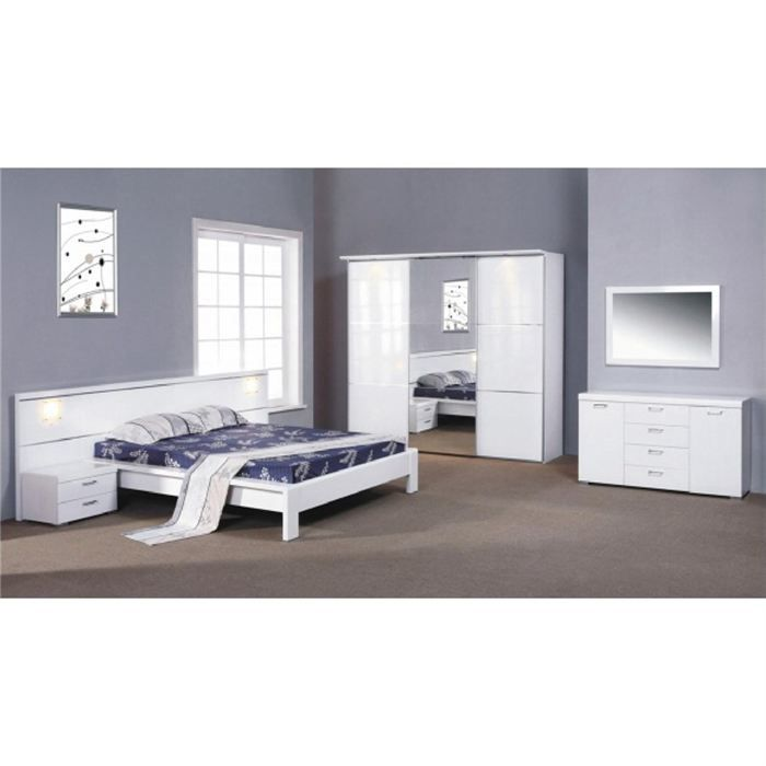 chambre complete design barello blanc laque achat vente lit complet chambre complete barello. Black Bedroom Furniture Sets. Home Design Ideas