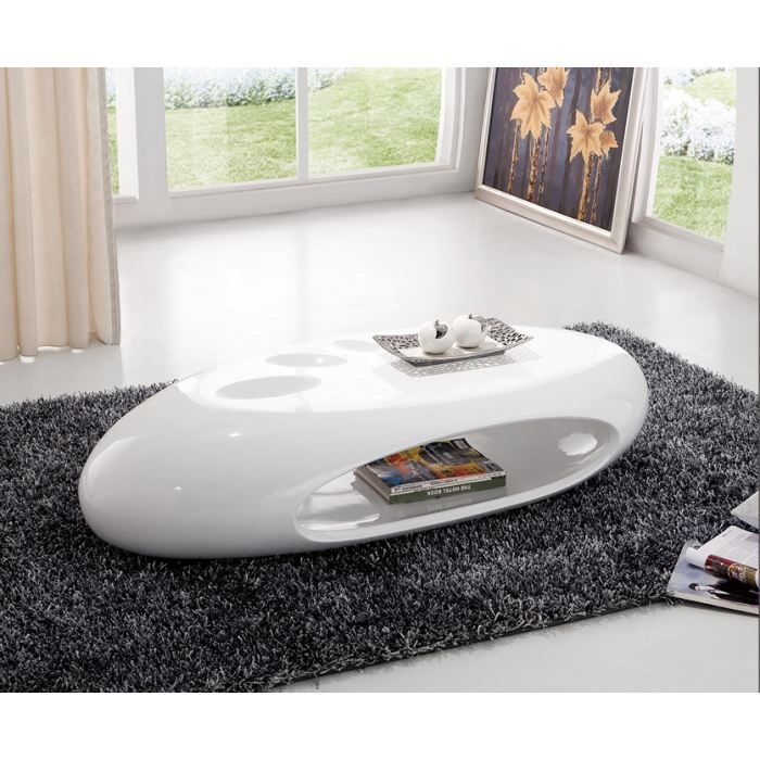 Table basse design galet laquee ovale blanc achat - Table basse ovale design ...