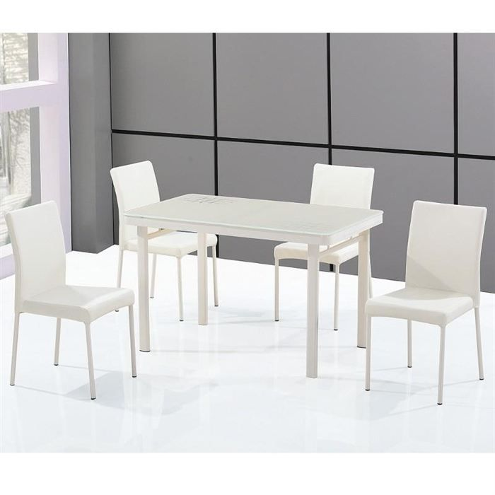 Ensemble table en verre rectangle et ses 4 chaises achat for Ensemble table en verre et chaises