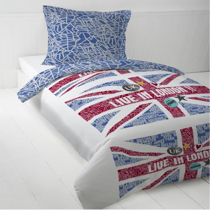 parure de couette enfant union jack 140 x 200 cm 1 taie achat vente housse de couette. Black Bedroom Furniture Sets. Home Design Ideas