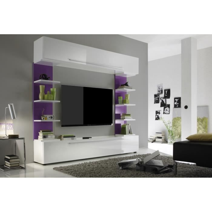 Composition tv murale design blanc laqu lilas trinity achat vente meuble - Composition murale ikea ...