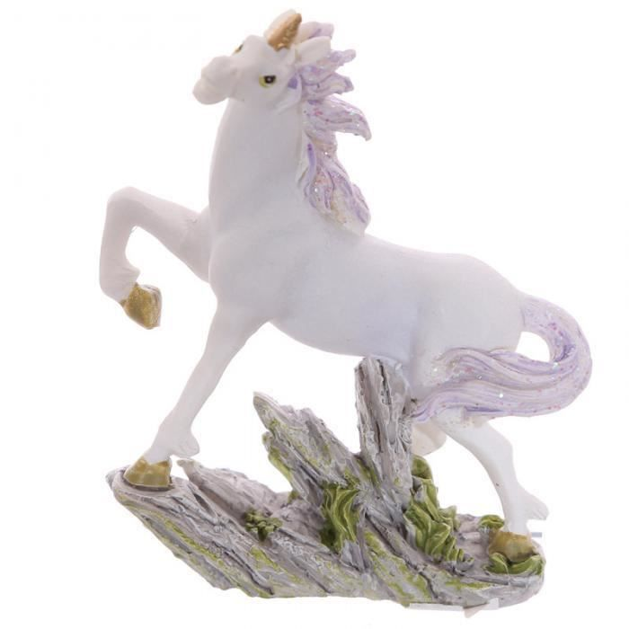 STATUE - STATUETTE Petite licorne sur rocher, 8 cm (C)