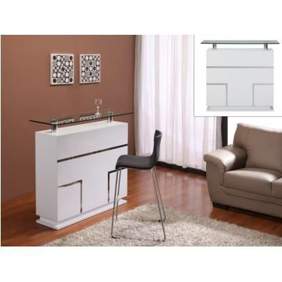 meuble de bar luminescence mdf laqu blanc ver achat. Black Bedroom Furniture Sets. Home Design Ideas