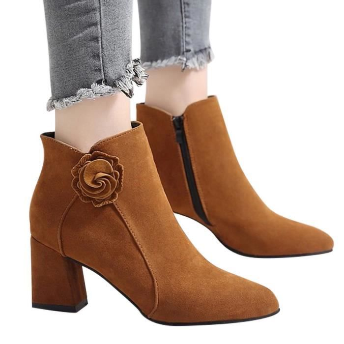 Ladies Fashion Fashion Solid Flower cheville Zipper Toe Toe Bottes Casual Chaussures marron