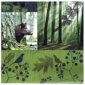 SERVIETTE JETABLE Lot de 20 serviettes de table motif forêt sanglier