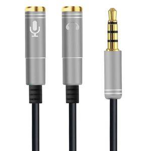 CÂBLE TV - VIDÉO - SON 30cm 3.5mm audio stéréo mâle à 2 femelle micro cas