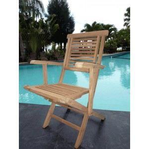 FAUTEUIL JARDIN  Fauteuil de jardin en teck - chaise pliante