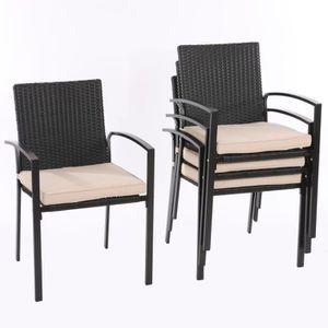 jardin Lot de de accoudoirspoly 4 chaises Palmaavec 1cTFKlJ