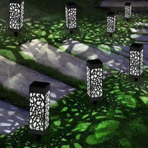 10 pi/èces Hisome IP65 /étanche Paysage Color/é//Pathway Lampe en Acier Inoxydable LED Solaire Lumi/ères Ext/érieures Pour Patio Installation Facile Sans Fils Lumi/ères de Jardin Solaires