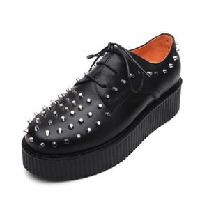 DERBY Derby Homme Cuir Rivet Platform Punk Creepers  Cha