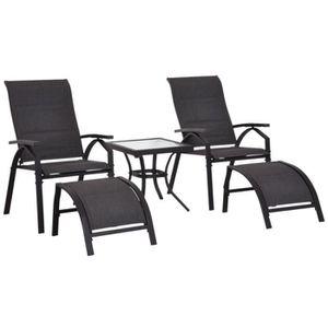 TABLE BASSE Lot de 2 transats bains de soleil grand confort do