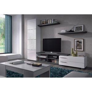 MEUBLE TV MURAL Ensemble meuble TV couleur  blanc brillant / gris