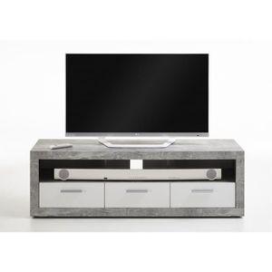 MEUBLE TV TURBO Meuble TV Gris béton et blanc brillant - L 1