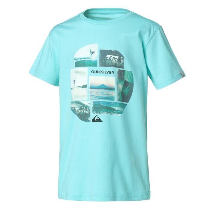 QUIKSILVER T-shirt imprimé Flaxton Youth Pho - Enfant Garçon - Bleu turquoise