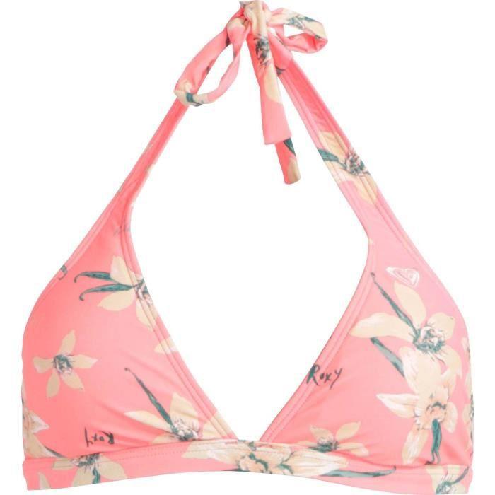 ROXI Haut de maillot de bain FLOWER FIELD 70S HALTER - Femme - Corail