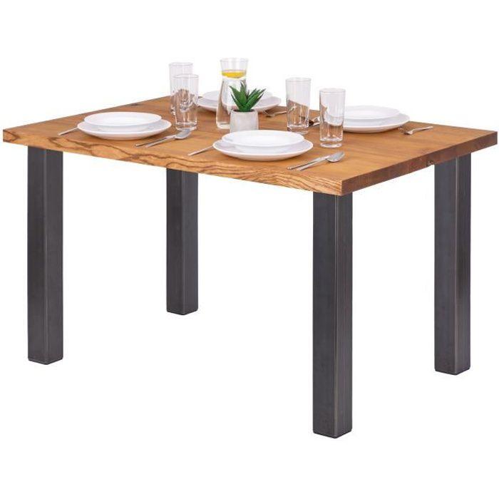 LAMO MANUFAKTUR Table à manger industrielle en bois massif - 120x80x76cm - frêne rustique - pieds acier brut - modèle classic