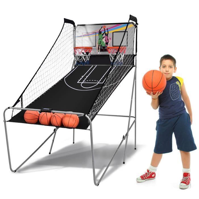 DREAMADE Jeu de basketball électrique, jeu de basket-ball intérieur interactif à 8 options des jeux, jeu de basketball pliant