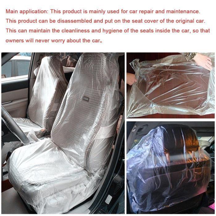 Siege de voiture jetable Housses de protection de vehicule pour la reparation mecanique transparente - 100 pieces