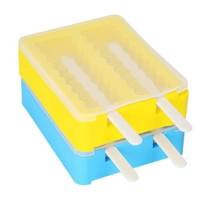 Warsoniod moulle a glace Lot de 2 esquimaux Ice Pop Mold DIY Sucettes Glacées avec Bâtonnets et Couvercles en Silicone,sans BPA