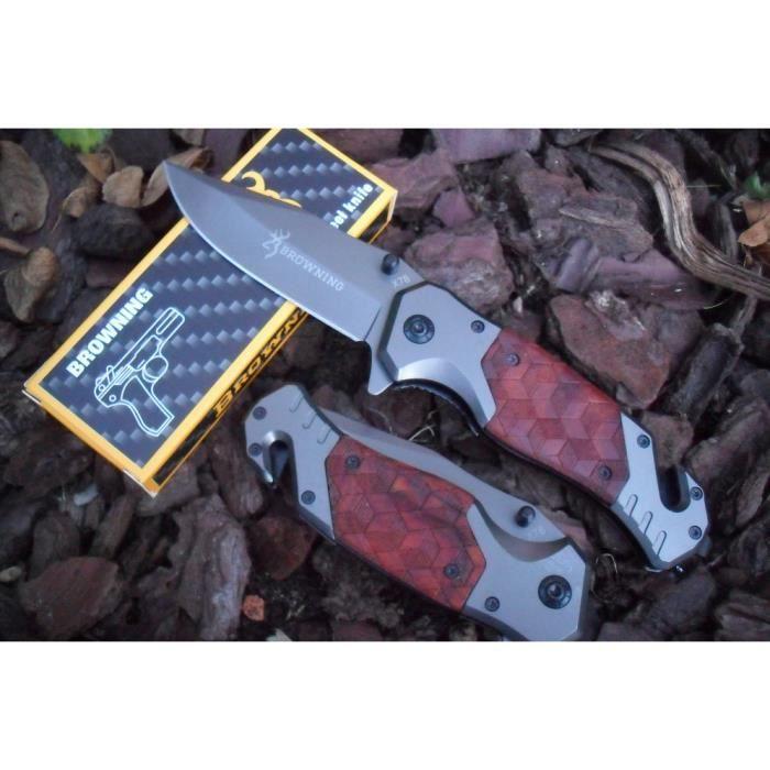 Couteau De Sauvetage BROWNING Manche Acier/Résine Style Cuir 12 cm Outdoor