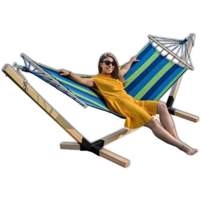 Hamac avec structure en bois de hêtre 320 cm Jusqu'à 150 kg bleu