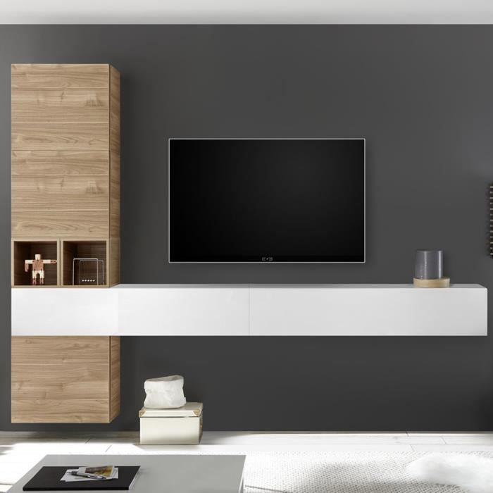 Composition murale TV couleur chêne et blanc laqué ORIAGO Marron L 275 x P 30 x H 220 cm