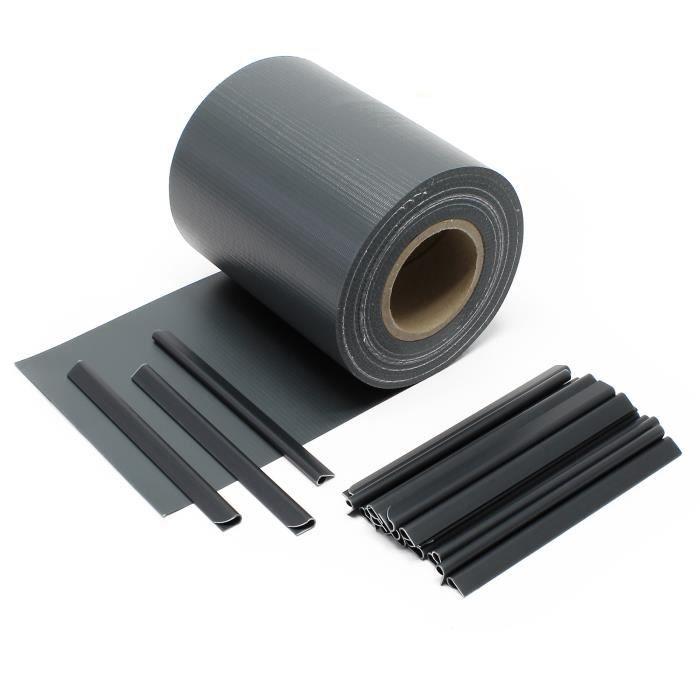 35m Noir Brise-vue Rouleau Pare-vent PVC Occultation Clôture Protection visuelle Jardin 20 clips - 51494
