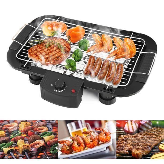 2000W Barbecue électrique de Table Cuisson Grille Sans Fumée 48x29.5cm Party Fête