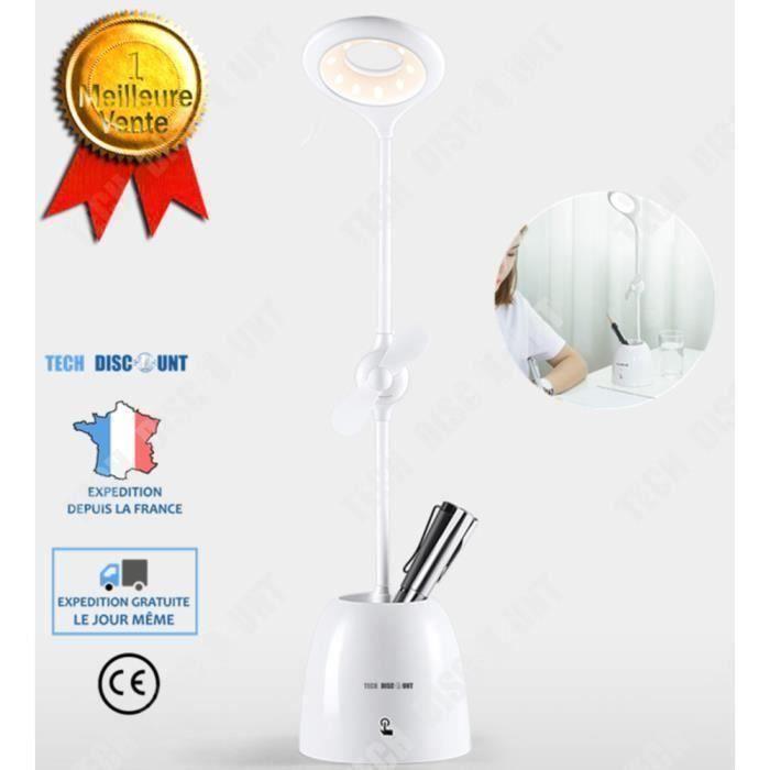 TD Lampe de table bureau rechargeable lecture ventilateur porte stylo couleur extérieur enfant étudiant puissant professionnel beau