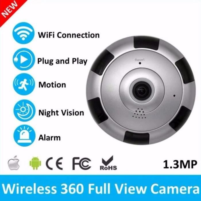 Caméra Wifi 960P Caméra panoramique 360 degrés sécurité à domicile, vidéosurveillance à Vision nocturne, camé*ES7783