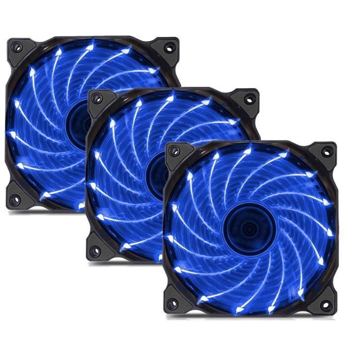 120mm 15Led Ventilateur pour Boîtiers Pc, Cpu Refroidisseurs Silencieux, Bleu, 3 Pack
